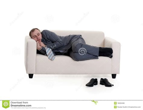 sleeping on sofa businessman sleeping on a sofa royalty free stock image