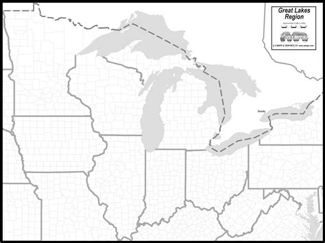 free map of great lakes states
