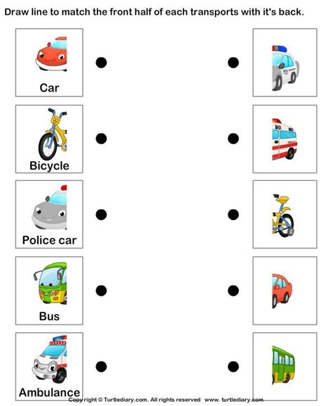 kindergarten themes transportation land transport match the parts 1 worksheet turtlediary