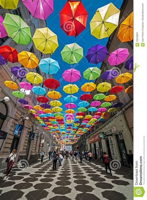 X2 3746 St Umbrella with colored umbrellas and shadows in timisoara editorial photography image 70576957