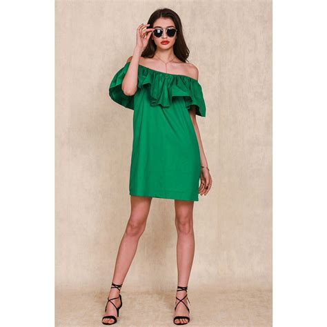 dress wanita sabrina ruffles slash neck dress size s green jakartanotebook