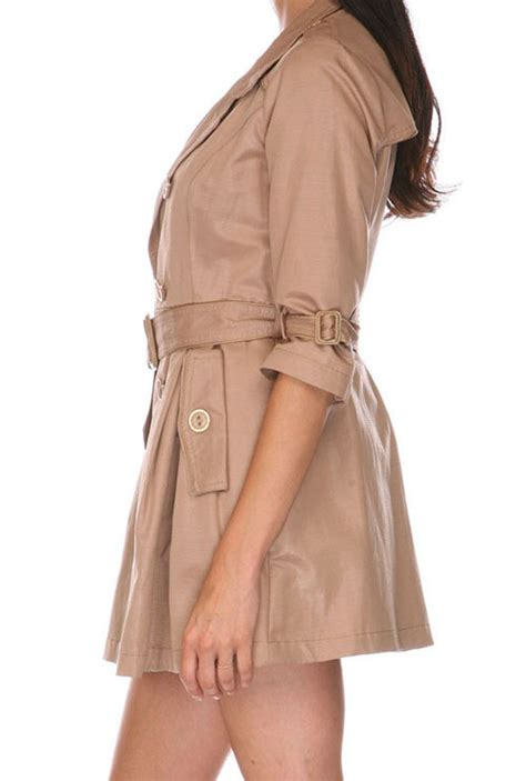 Belted Sleeve Trench Coat coat the breasted belted 3 4 sleeve
