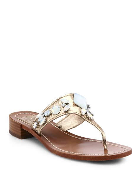 burch brown sandals burch ginevra jeweled metallic leather sandals in
