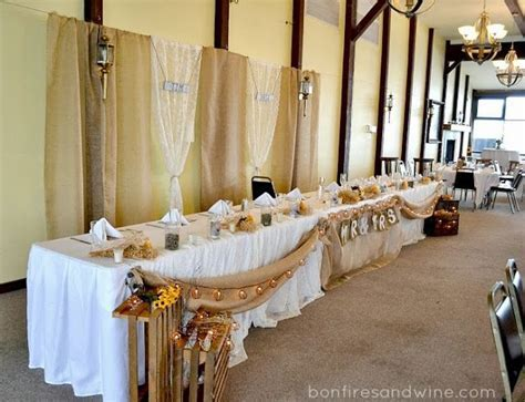 Rustic Wedding Head Table   used some burlap to make a Mr