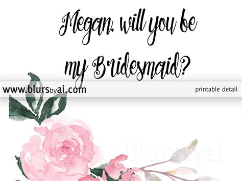of will card template will you be my bridesmaid card editable template blursbyai