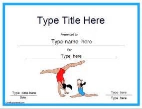 Gymnastics Certificate Template certificate free award certificate templates no registration required