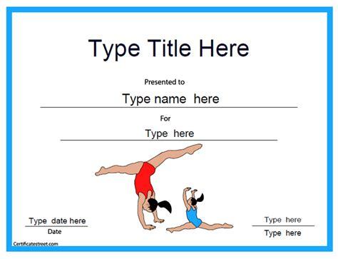gymnastics certificate template certificate free award certificate templates no