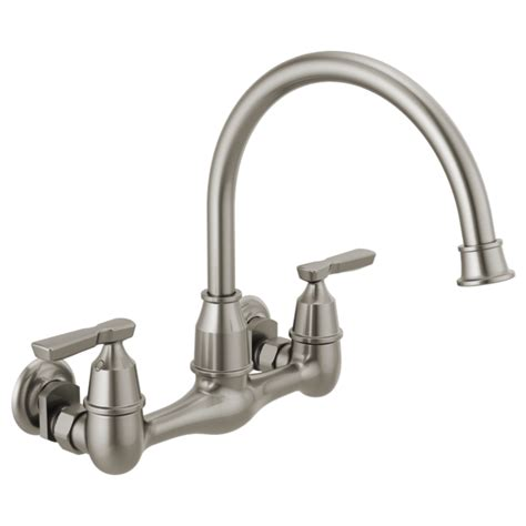 kitchen faucet wall mount two handle wall mounted kitchen faucet 22722lf ss delta faucet