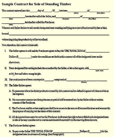 logging contract template create a solid timber sale contract with this sle