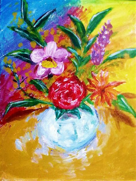 Acrylic Painting Of Flowers In A Vase by Flowers In A Vase Acrylic Painting By Muartgl On
