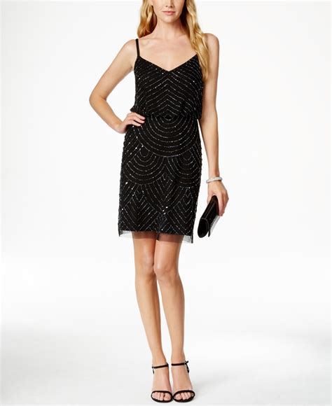 beaded black dress papell beaded sheath dress in black lyst