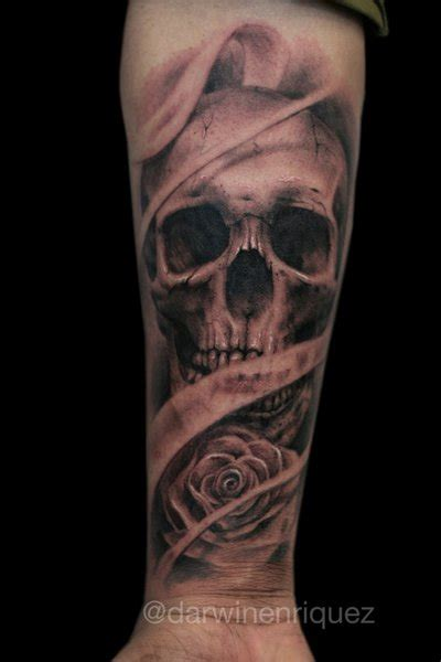 skull and rose sleeve tattoo skull forearm