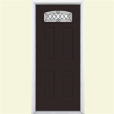 Prehung Fiberglass Exterior Doors Masonite 36 In X 80 In Halifax Camber Fan Lite Painted Smooth Fiberglass Prehung Front Door