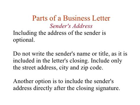 Parts Of A Business Letter Lesson lesson 11 writing business letters
