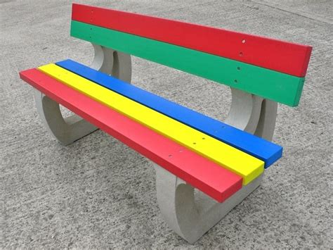 recycled plastic outdoor benches colne rainbow bench garden bench multicoloured