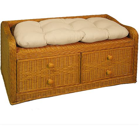 wicker storage bench with cushion natural kids rooms