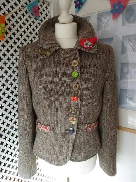 tweed jacket size 12 customised embellished per una tweed jacket size 12
