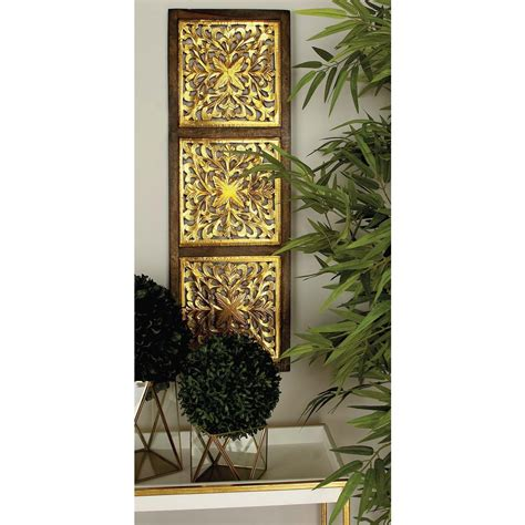 Decorative Silver P 8 36 in x 12 in modern decorative lattice patterned wood and iron wall panel in silver and gold