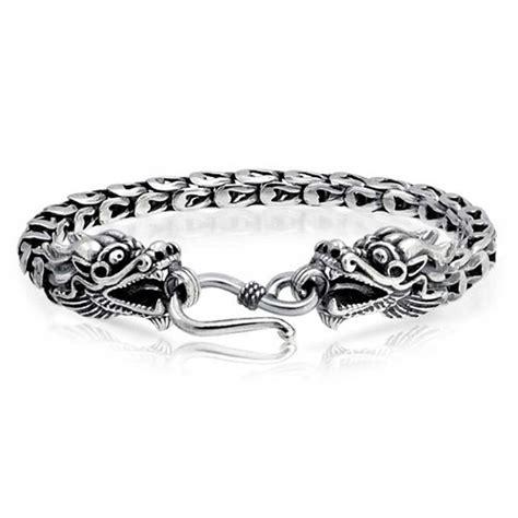 Mens Sterling Silver Antique Bali Dragon Bracelet