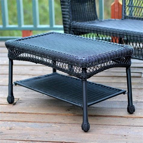 Patio Coffee Table Set Jeco Wicker Patio Furniture Coffee Table Outdoor Tables In Black Ebay