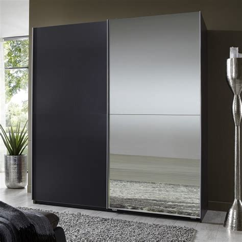 mirror sliding wardrobe small in lava with 2 doors