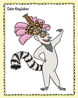 color king julien free madagascar coloring page jumpstart