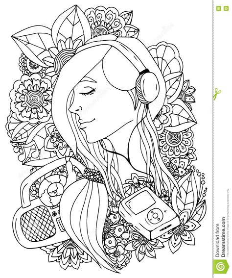 anti stress colouring book doodle and vector illustration zentangle and headphones in the