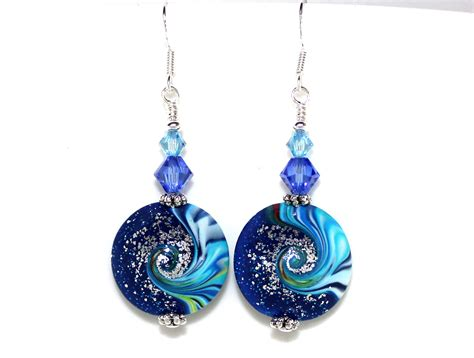Earrings Beaded Handmade - swirling handmade bead and earrings felt