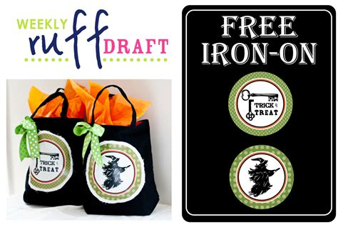 printable iron on designs free ruff draft free halloween iron on for trick or treat bags