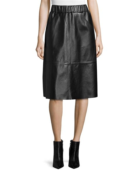bagatelle black midi leather skirt lyst