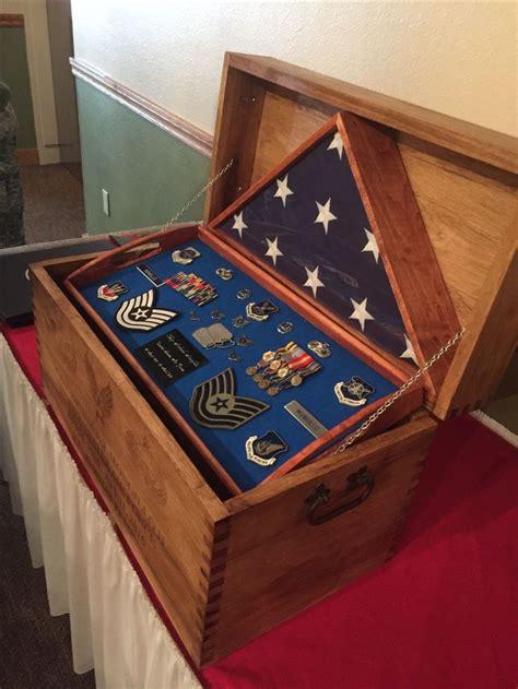 flag case  chest military shadow box shadow box