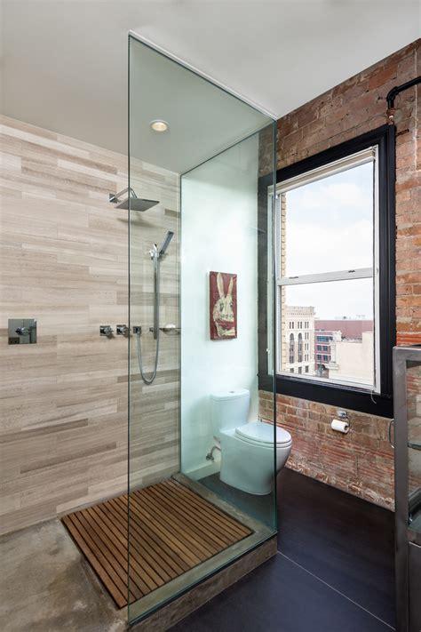 wooden shower floor Bathroom Industrial with exposed brick