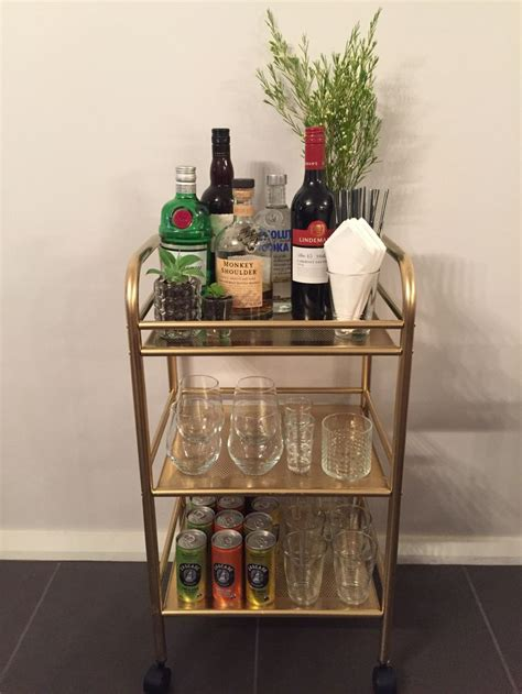 bar cart finally done used a draggan trolley from ikea