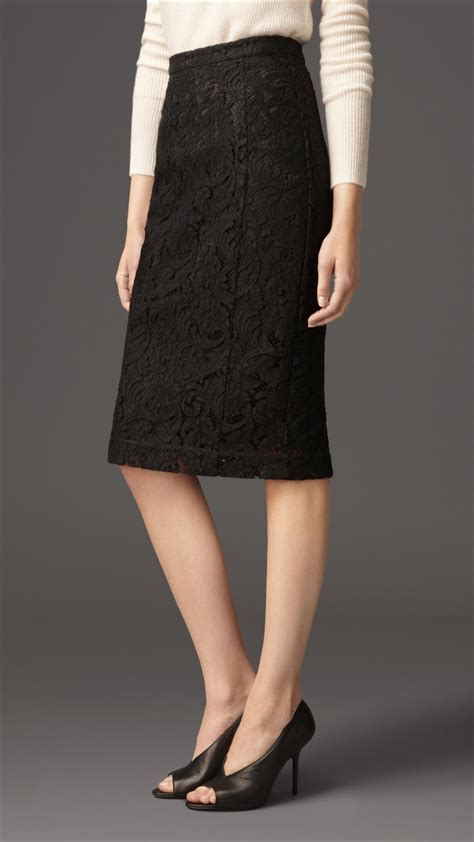 burberry lace pencil skirt in black lyst