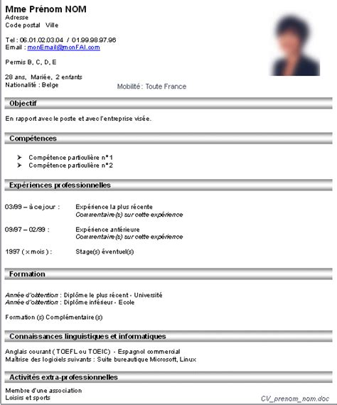 Cv De Travail by Exemple Cv