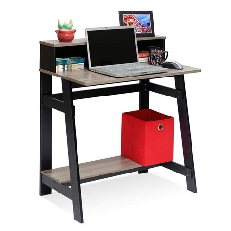Gray Computer Desk by Llytech Inc Simplistic Black Oak Grey Computer Desk With A Frame 14054bk Gyw The Home Depot