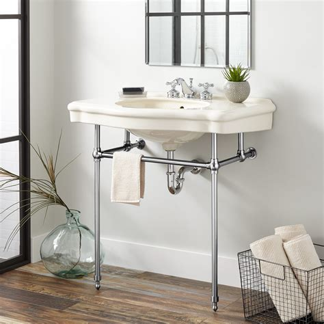 Restroom Sinks by Pennington Porcelain Console Sink With Brass Stand
