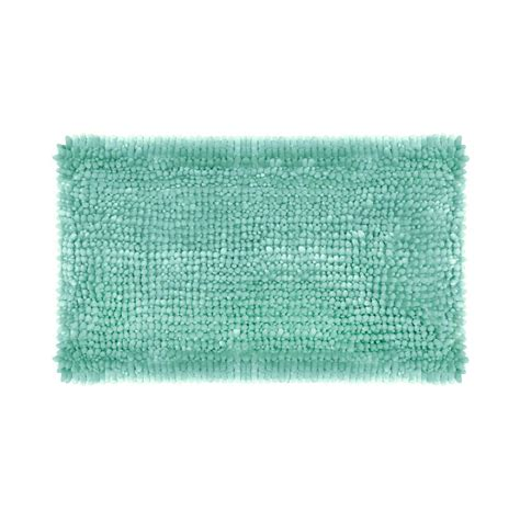 Chenille Bath Rug Butter Chenille 27 In X 45 In Bath Mat In Aqua Laymb006497 The Home Depot