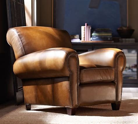 leather club sofa manhattan leather armchair with nailheads pottery barn
