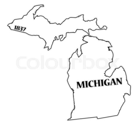 Outline Of Michigan State by A Michigan State Outline With The Date Of Statehood Isolated On A White Background Stock