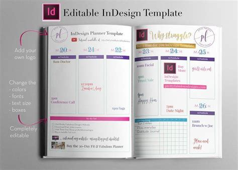 Weekly Calendar Indesign Template By Indesign Templates On Creativemarket Girlboss Pinterest Calendar Template Indesign Free