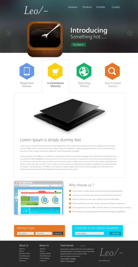 Latest Free Web Page Templates Psd 187 Css Author Photoshop Website Templates
