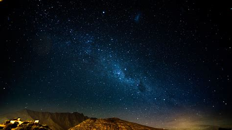 white stars starry sky night mountains hd wallpaper