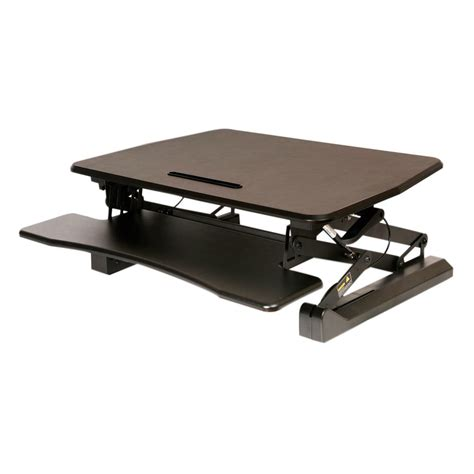 sit stand desk converter seville classics airlift black pneumatic sit to stand