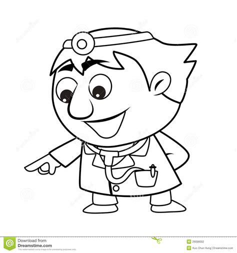cute doctor coloring page outlined cute doctor stock photography image 29098002