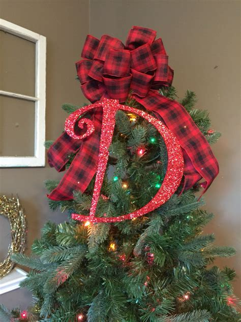 decorative 12 quot red monogram christmas tree topper letter