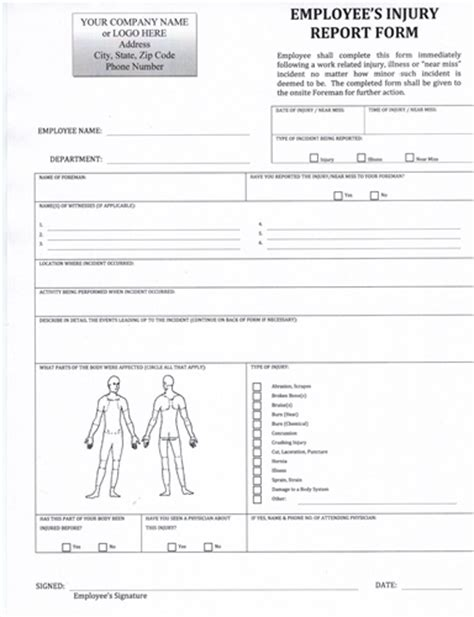 injury report form template employee injury report
