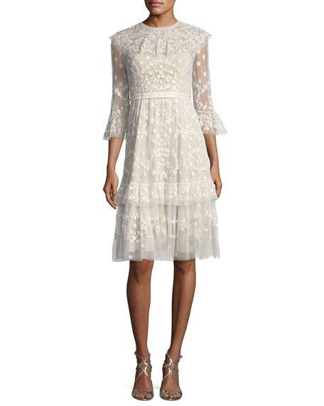 Lace Midi Cocktail Dress needle thread shadow lace tulle embellished midi