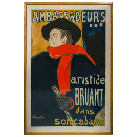 At Home Design Center Greenwich Ct henri de toulouse lautrec poster of aristide bruant at 1stdibs