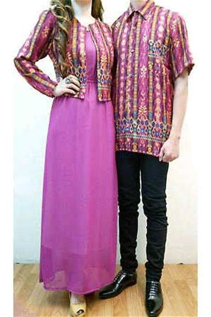 Erkud Flower Atasan Kemeja Blouse Baju Wanita 2 batik warna ungu baju untuk kondangan